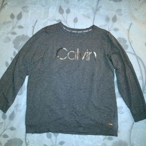 Calvin Klein Gray and Silver Crew Neck Sweatshirt